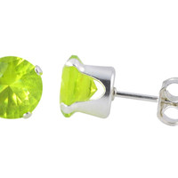 Earrings Sterling Silver Green Peridot CZ August Birthstone Round Prong Studs