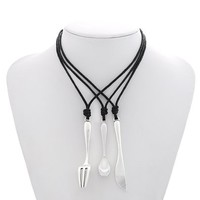 MJartoria Spoon Knife Fork Necklace with Black PU Leather Cord Food Theme BFF Necklace for 3