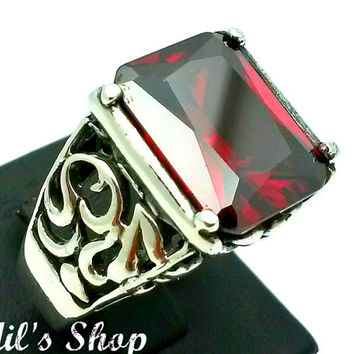 Men's Ring, Turkish Ottoman Style Jewelry, 925 Sterling Silver, Gift, Traditional Handmade, With Garnet Stone, US Size 11, New