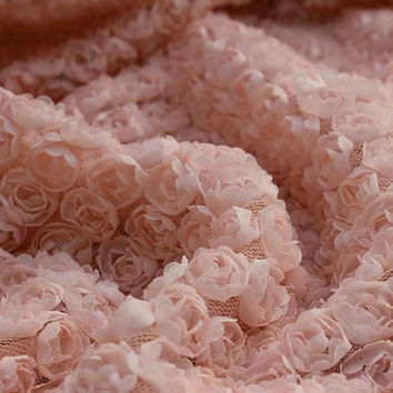 blush pink chiffon roette fabric, Chic rosette fabric, shabby rosette fabric, Bridal fabric, photography backdrop