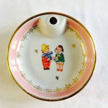 French Baby Plate, Baby Warming Bowl, French Limoges Clowns