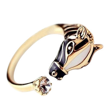 Animal Rings Horse Head Crystal Women's Crystal Open Ring Jewelry  SM6
