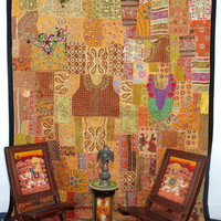 Huge Vintage Sari Patchwork Tapestry Indian Patchwork WallHanging Sari Patchwork Curtain