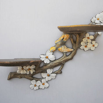 pair of vintage shelves flowers and birds by KatyBitsandPieces