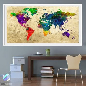 XL Poster Push Pin World Map travel Art Print Photo Paper watercolor Old Wall Decor Home (frame is not included) (P29) FREE Shipping USA!!!