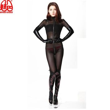 Hot Sexy Women Mesh Body Suit Black See Through Teddy Bodysuit Lingerie Catsuit Sexy Pantyhose For Women Dance Wear