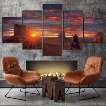 5 Piece Western Game Canvas Poster Red Dead Redemption 2 Gutch's Gang Arthur Morgan Painting Wall Art for Home Decor