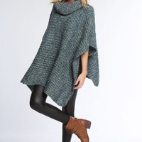 Sweaters - Autumn Vibe Cowl Neck Poncho Sweater