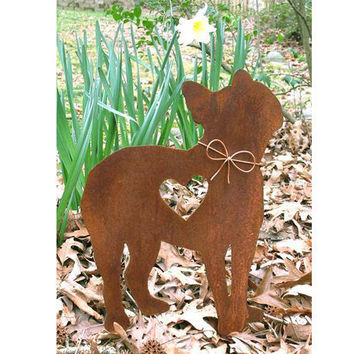 Boston Terrier Dog Metal Garden Stake - Metal Yard Art - Metal Garden Art - Pet Memorial