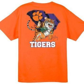 ESBON NCAA Clemson Tigers Striped Orange Guy Harvey T-Shirt