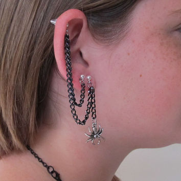 Triple Piercing and Single Piercing Earrings Black Chain and Spiders