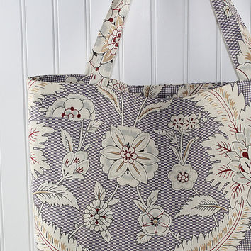 Lavender Jacobean Print Large Tote Bag, Farmers Market Bag, Reusable Grocery Bag, MK141