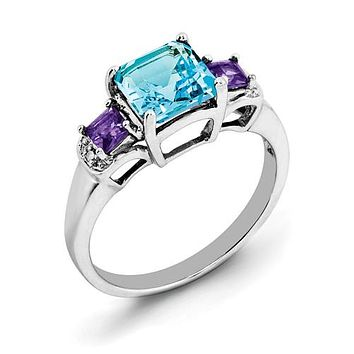 925 Sterling Silver Amethyst London Blue Topaz diamond Ring