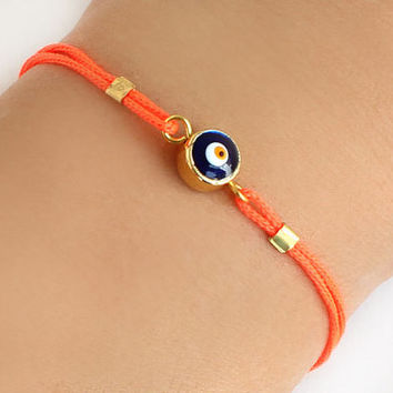Evil eye bracelet handmade neon orange paracord istanbul turkey jewelry ethnic arabic best friend birthday gift