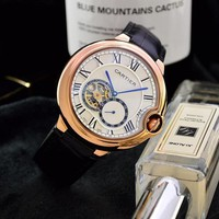 HCXX C044 Cartier Simple Business Leisure Automatic Machinery Leather Watchand Watches Black Rose Gold Blue