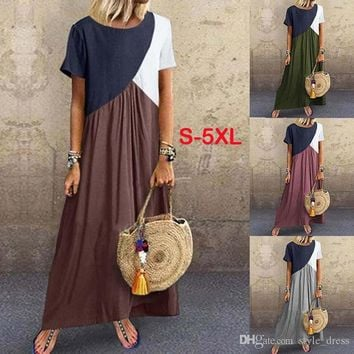 Women Maxi Dress Contrast Color Patchwork Short Sleeve Causal Plus Size Loose Long Dress