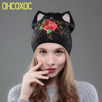 OHCOXOC New Design Women Beanies Skullies Cute Red Rose Girl Autumn Winter Hat Cap With Cat Ear Rhinestone Embroidery Flower