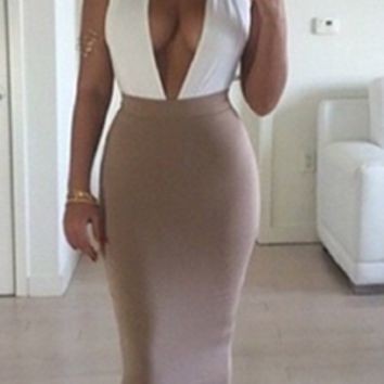 Fresh Act White Beige Sleeveless Plunge V Neck Backless Halter Bodycon Midi Dress