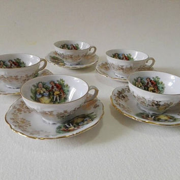 Set of 5, Germany vintage, Tea set, Set cups and saucers, Coffee set, Made in Germany, Tea cups, Coffee cups, vintage cups, home decor, cup