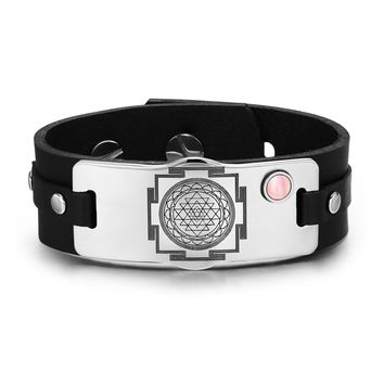 Sri Yantra Chakra Magical Energy Amulet Pink Simulated Cats Eye Adjustable Leather Bracelet
