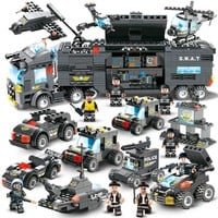 City Police Series Compatible LegoINGs 8IN1 SWAT Truck Station Building Blocks Sets Figures Bricks Educational Toys For Children