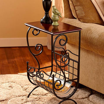 Metal and Wooden End Table