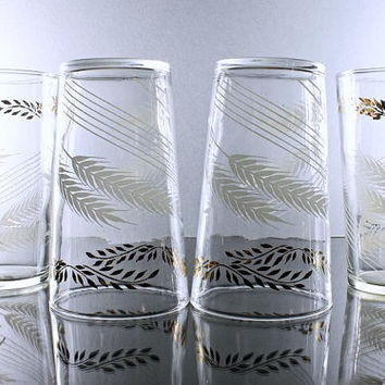 Federal Glass, Tumblers, Wheat, White and Gold, Water Glasses,  Set of 4