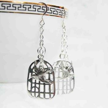Silver Sparrow Birdcage Earrings Bird