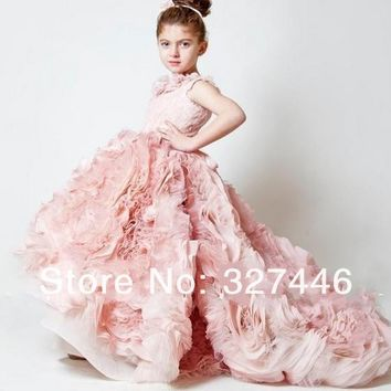 New Chic lovely Cheap Ball Gown little girls pageant dresses high low kids party gown Peach first communion Flower Girl Dresses-in Flower Girl Dresses from Apparel & Accessories on Aliexpress.com