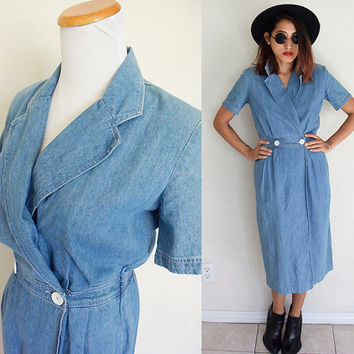 Vintage 90's double breasted thin denim jeans wrap shirt short sleeves midi dress