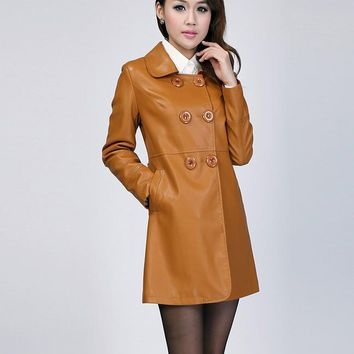 Hot Free shipping ! Winter new style Genuine Leather jacket leather coat and long sections women 's Slim leather jacket ,M--4XL