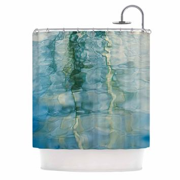 "Malia Shields ""Fluidity Series #2"" Green Teal Shower Curtain - Outlet Item"