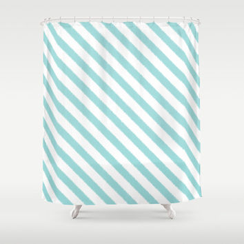 Shower Curtain - Aqua Blue Ikat Stripes - Dorm Shower Curtain - Glamour Decor - Bathroom Shower Curtain - Teen Room Decor - Tiffany Blue
