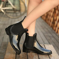 Rubber Boots 2015 Waterproof Trendy Jelly Women Ankle Rain Boot Elastic Band Solid Color Rainy Shoes Women WBS42