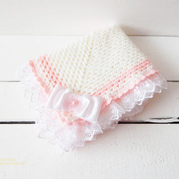 Free shipping. Crochet Baby Blanket, Baby Blanket. Ideal just to wrap baby in blanket.