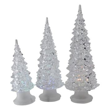 Set of 3 LED Lighted Color Changing Christmas Tree Decorations