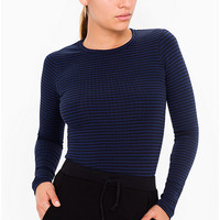 Knitted Rib Long Sleeve Crew Neck Top | American Apparel