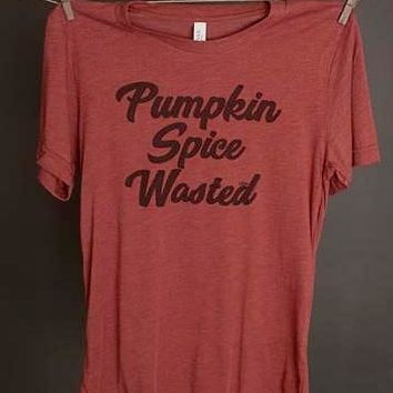 "Gina ""Pumpkin Spice Wasted"" Rust Crew Neck Tee"