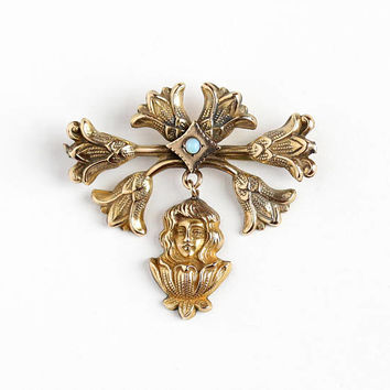 Antique Art Nouveau Rosy Yellow Gold Filled Genuine Opal Lady Flower Pin - Vintage Edwardian Era 1910s Floral Woman Drop Gemstone Jewelry