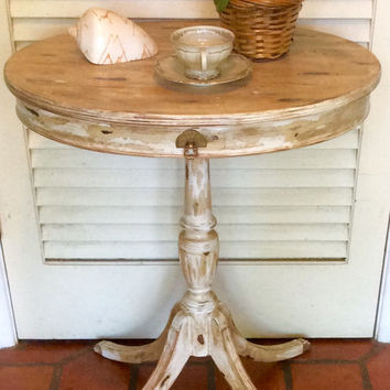 Vintage Shabby Chic Beige Pedestal Table 1940s