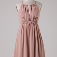 Chiffon Dress with Flower Band - Taupe