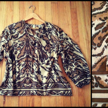 ViNtAgE 70s Leopard Animal Print Peasant Blouse Festival Shirt Free People Balloon Sleeve top Boho tunic Coachella Coverup Hippie