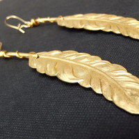 Gold Feather Earrings:  Long Bohemian Statement Earrings, Tribal Jewelry, Wire Wrapped Shoulder Duster