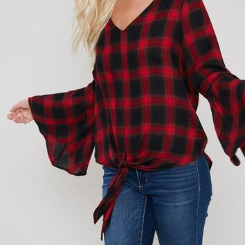(pre-order) Red Plaid Bell Sleeve Blouse