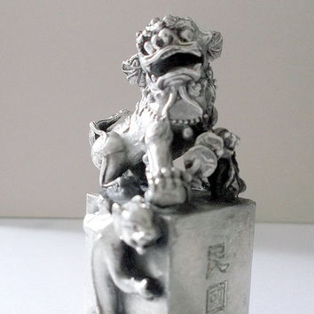 Chinese FOO DOG Tibetan Miao Silver Stamp Seal Fengshui Lion Handmade