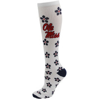 Mississippi Rebels Youth Girls Petal Power Knee-High Socks - White - http://www.shareasale.com/m-pr.cfm?merchantID=7124&userID=1042934&productID=555857259 / Ole Miss Rebels