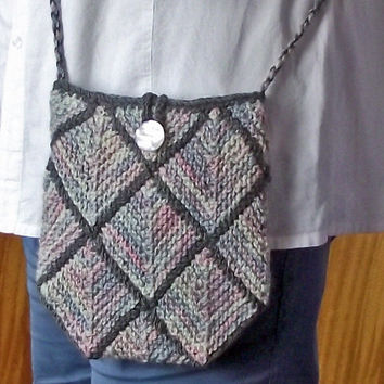 Knitted Crossbody Bag, Lined Pastel Knit Purse, Artisan Handspun Knitted Bag, Lined Boho Bag, Pastel Shoulder Purse, Knit Shoulder Bag