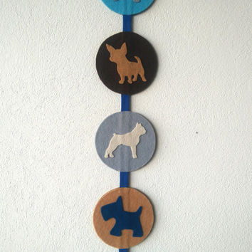Decor door wall hanger, Dog Dachshund Boxer Chihuahua Poodle Schnauzer breed in felt, Decorative pet felt Dog, shadow profile cartoon