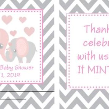 20 Pink Elephant Baby Shower Mint Favors