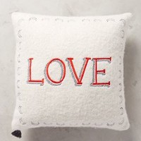 Merry Sentiments Pillow by Anthropologie